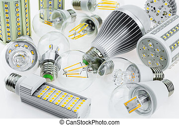 a lot E27 LED bulbs with different types of chips