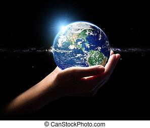 ambiente, concetto, universo, mano, fini, Terra, presa,...