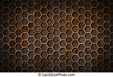 Rusty hexagon pattern grate texture background