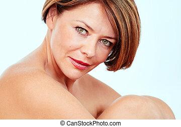 Middle aged woman portrait - Close up portrait of beautiful...