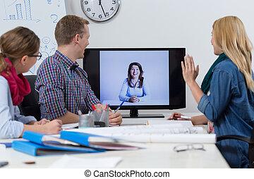 vídeo, conferencia, en, oficina,