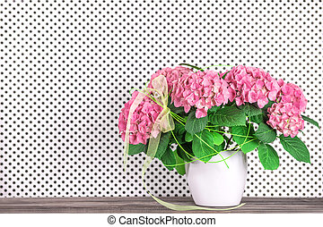 Still life with beautiful hortensia flowers bouquet