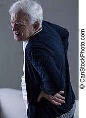 Old man backpain - Old man with horrible backpain