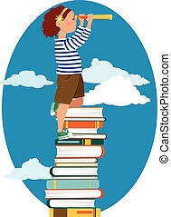 Young reader - Little girl in a sailor's shirt standing on a...