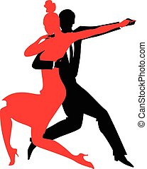 Tango silhouette - Silhouettes of a couple dancing Argentine...