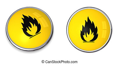 Button Flammable Symbol