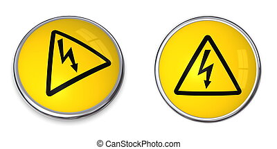 Button Electricity Symbol - button with yellow electricity...