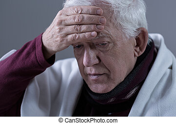 Elderly man with fever - Elderly man with infection and high...
