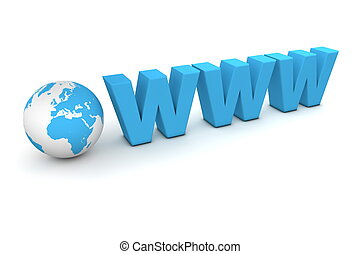 World Wide Web - 3D globe with word www in blue