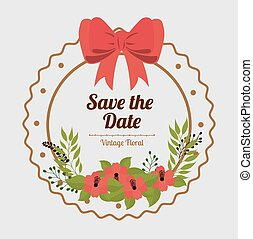 Save the date design. - Save the date design over white...