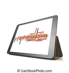 Privatisation word cloud on tablet image with hi-res...
