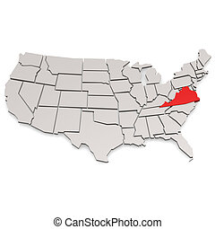 Virginia map image with hi-res rendered artwork that could...
