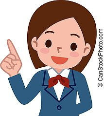 Finger plug it schoolgirl - Vector illustration.