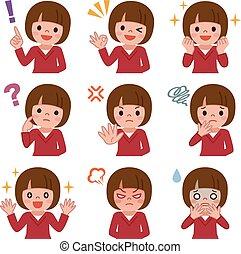 Expression set of girl - Vector illustration.