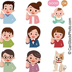 Thumbs up people - Vector illustration