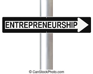 Entrepreneurship - Modified one way sign indicating...