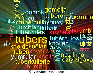 Tubers multilanguage wordcloud background concept glowing -...