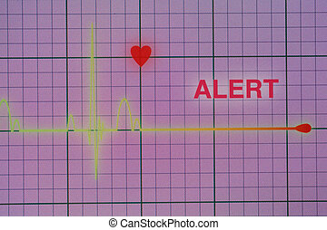 Heart beats cardiogram on the monitor - Flat line alert on a...