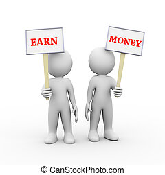 3d people holding sign board banner earn money