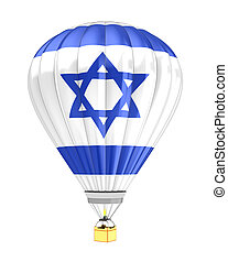 Israel flag - 3d illustration of hot air balloon with Israel...