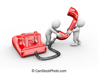 3d people talking on telephone - 3d illustration of man...