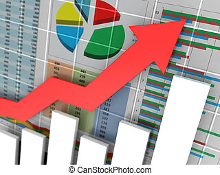 business graph - abstract 3d illustration of business graph...
