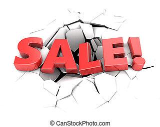 sale - 3d illustration of sale sign over white cracks...