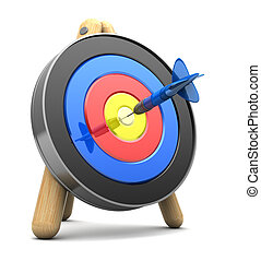 success - 3d illustration of archery target with dart in...