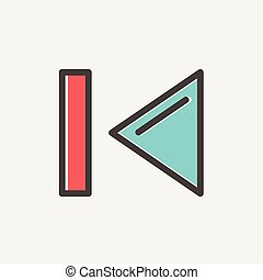 Previous button thin line icon - Previous button icon thin...