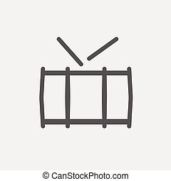 Snare drum thin line icon - Snare drum icon thin line for...