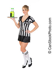 Female Referee Carrying Drinks - Portrait Of Female Referee...