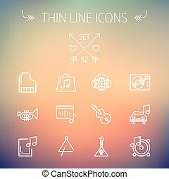Music and entertainment thin line icon set for web and...
