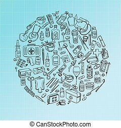 medicine doodle background - Health care and medicine doodle...