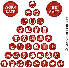 Pyramid Health and Safety Icon coll - Red construction...