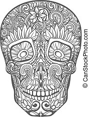 human skull made of flowers, vector illustration
