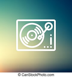 Phonograph turntable thin line icon - Phonograph turntable...