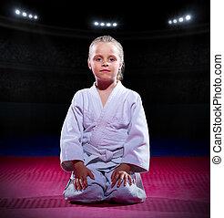 niña, Aikido, luchador, en, deportes,...