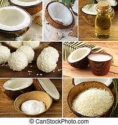 collage of fresh organic coconut and its products (oil,...