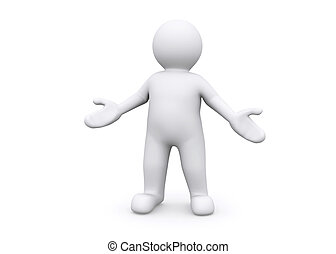 Welcome, proud to present. - 3d blank figure standing...