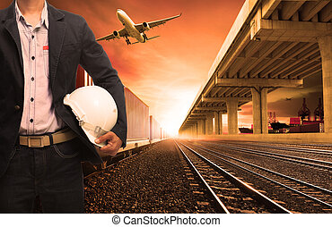 industry container trains on railways track cargo plane...