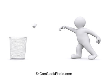 3d white man throwing can in garbage. - 3d white man...