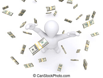3d white man and money rain - 3d white man and money rain...