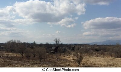 Panoramic of Mountain view with blue sky and forest tree in spring time in sunny day