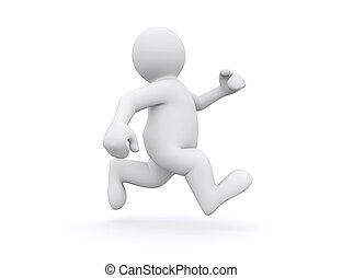White man running - White man running isolated on white with...