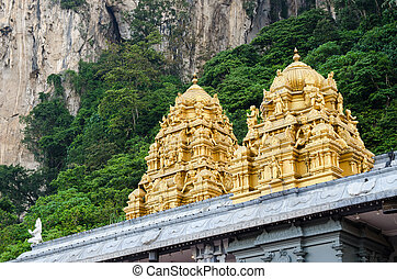 Batu Caves,Kuala Lumpur - Golden roof on Indian temple in...