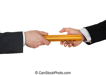 Two Hands Passing A Golden Relay Baton - Close-up Of Two...