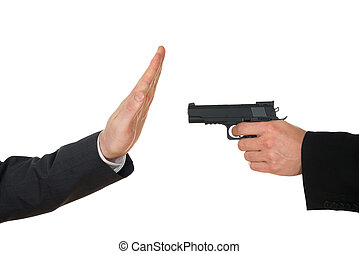 Businessman Aiming With Gun To Another Businessperson -...