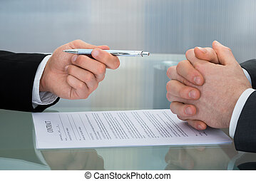 The Process Of Signing New Business Contract - Close-up Of...
