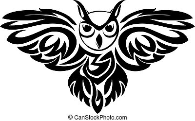 Owl symbol - Black owl symbol isolated on white as a wisdom...
