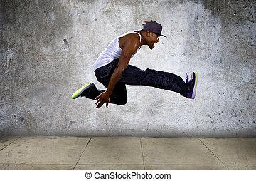 urbano, negro, hombre, Saltar, alto,